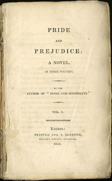 Title page for the first edition of Pride and Prejudice