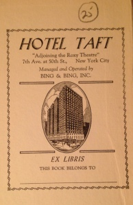 "Hotel Taft, ""Adjoining the Roxy Theatre,"" 7th Ave. at 50th St., New York City"