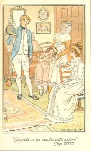 """Complete in his lieutenant's uniform."" Illustration by H.M. Brock"