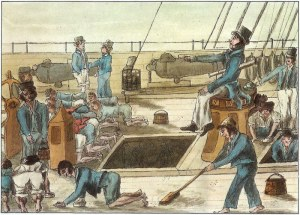 Cartoon of midshipman supervising the daily slops.