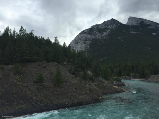 Looking at Mount Rundle from the Bow Falls Trail