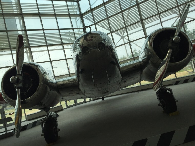 "Lockheed Model 10-E Electra, ""now configured and marked precisely like Amelia Earhart's classic aircraft,"" on display at the Museum of Flight in Seattle"