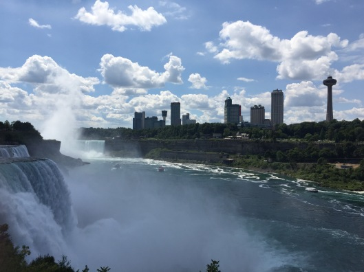 The view of Niagara Falls, Ontario, from Niagara Falls, NY