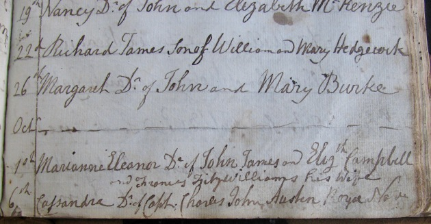 Cassy Austen's Baptismal Record, 6 October 1809 (St Paul's Church, Halifax, NS)