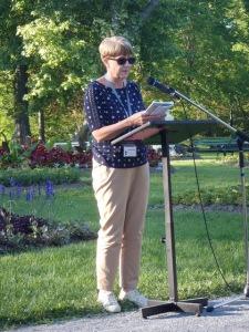 Chris Grocott reading in the Halifax Public Gardens