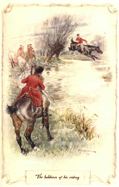 """The boldness of his riding."" Illustration by C.E. Brock (Mollands.net)."