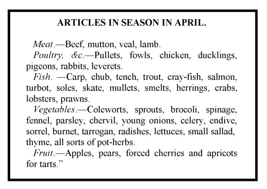 Articles in Season in April. From The New London Family Cook, by Duncan Macdonald (1808).