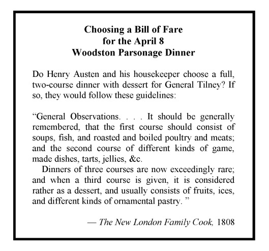 Choosing a Bill of Fare for the April 8 Woodston Parsonage Dinner